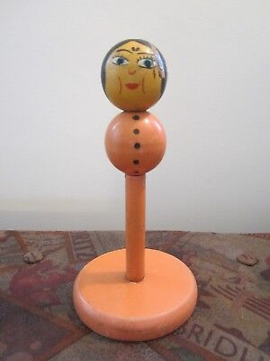 Vtg Antique Wood Deco Lady Boudoir Hat Stand Millinery Girl Woman Hand Painted