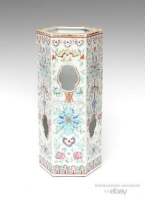 19th C. Antique Chinese Qing Dynasty Porcelain Famille Rose Hat Stand w/ Reciept