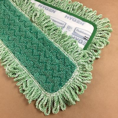 "Rubbermaid Q449 HYGEN 48"" Microfiber Dust Floor Mop Pad with Fringe Each Green"