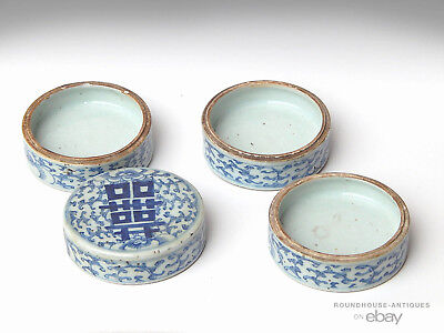 Old Antique Chinese Qing Dynasty Porcelain Blue White Stacking Bowl Box