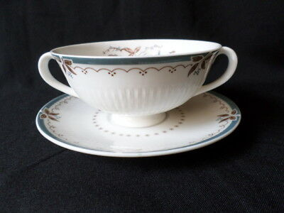 Royal Doulton. Old Colony. Handled Soup Bowl & Saucer. TC1005. Made In England.