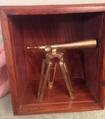 Miniature Brass Telescope Shadow Wood Box Decor, Metal Stars Astronomy