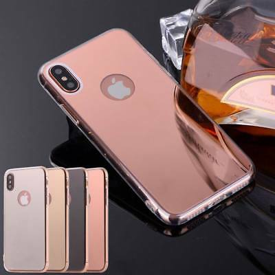 Luxury Mirror Clear Hard Back Soft TPU Bumper Case Cover For iPhone 8 6 7 Plus X