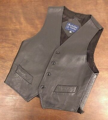 """INXS Genuine Leather Made in England Black Rock Vest - Size M - 18"""" Chest"""