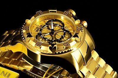 Invicta Excursion 52MM ALL GOLD Black Accent Swiss Ronda Chronograph SS Band Wat