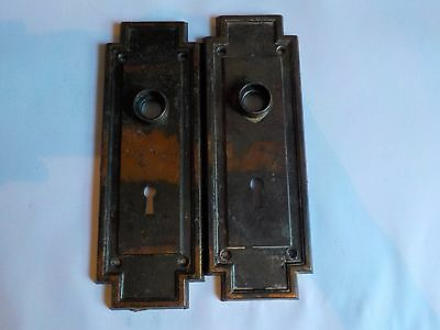 Antique Lot of 2 Door Handle Hardwear Flat Plates Home Renovations Crafts 7.5 In