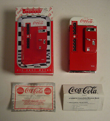 New Coca-Cola Diecast Musical Bank It's The Real Thing Coke #128910 Enesco Metal