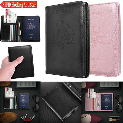 Premium Leather Travel Wallet RFID Blocking Anti Scan Long Passport Holder - AU