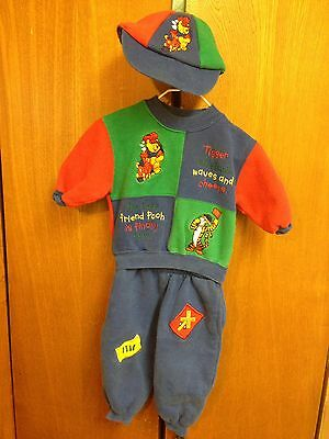 Disney Store Tigger Pooh Train Sweat Suit w/ Hat Baby Boy 6 Months Railroad