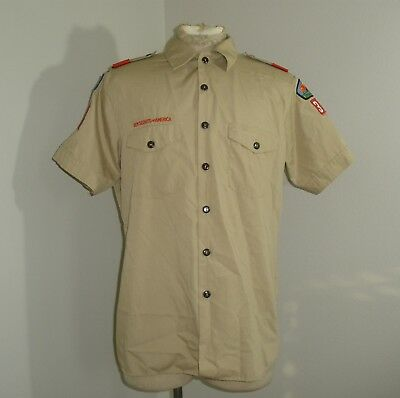 Mens BSA Boy Scouts of America Short Sleeve Shirt Patches USA MADE Large 16-16.5