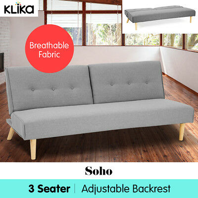 Soho Linen Fabric Sofa Bed Lounge 3 Seater Couch Futon Furniture Suite L Grey