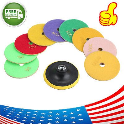 4 Inch Wet Dry Diamond Polishing Pads 10Pieces Set Concrete Stone Granite Marble