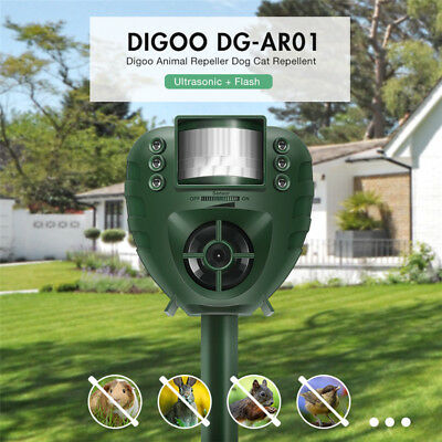 Digoo Solar Outdoor PIR Ultrasonic Animal Bird Cat Dog Mice Repeller Repellent
