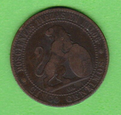 """Spain : 1870 5 CENTIMOS - Copper - """"Leo with Crest"""" Ancient Spanish Coin - L/M**"""
