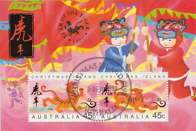 Australia/Christmas Is.1998 Lunar Year of the Tiger M/S CTO 1st day Cancellation