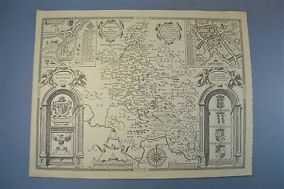 Vintage decorative sheet map of Buckinghamshire in black and white dated 1610