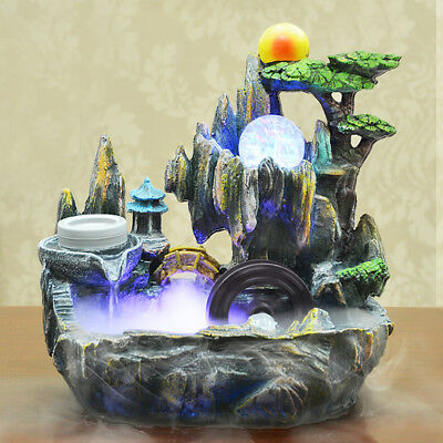 220V Mystical Peaceful Indoor Table Bench Top Water Feature Fountain Ornament