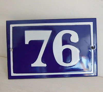 OLD FRENCH HOUSE NUMBER SIGN door gate PLATE PLAQUE Enamel steel metal 76 Blue