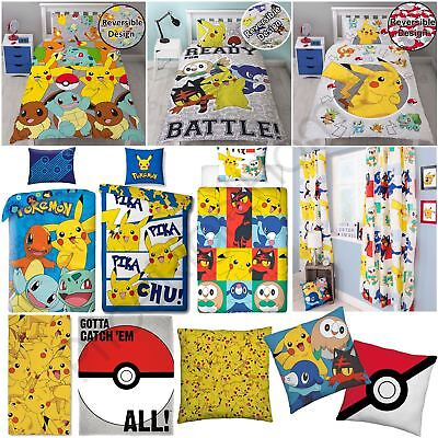 Pokemon Bedroom Kids - Single Duvet Cover Sets Cushions Blanket Towel Curtains