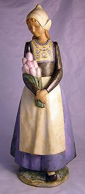 "Signed Nao Lladro ""DUTCH GIRL WITH TULIPS"" Figurine Rare 15"" Tall  Superb"