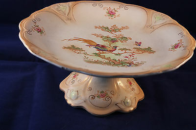 CROWN DUCAL ANTIQUE 1916c BLUSH WARE TAZZA COMPOTE CAKE STAND BIRD PARADISE AVIS