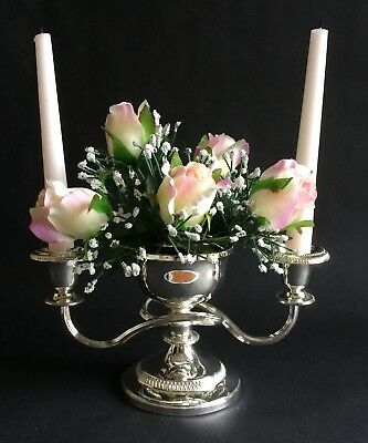 Fab Vintage Silver-Plated Floral Candelabra, Made In England