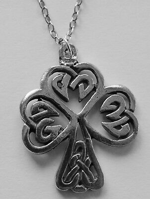 Chain Necklace #381 Pewter CELTIC SHAMROCK / Tree of Life (25mm x 25mm)