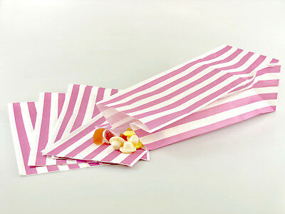 100 x Baby / Pale Pink Candy Stripe Sweet | Popcorn | Pick n Mix  | Paper Bags