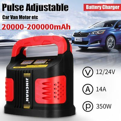 350W 14A LCD Auto Car Battery Charger 12V/24V Vehicle Jump Starter Fast Safety P