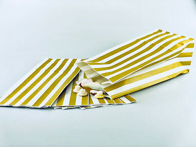 100 x Gold & White Candy Stripe Sweet | Popcorn | Pick n Mix  | Paper Bags