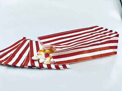 1000 x Red & White Candy Stripe Sweet | Popcorn | Pick n Mix  | Paper Bags
