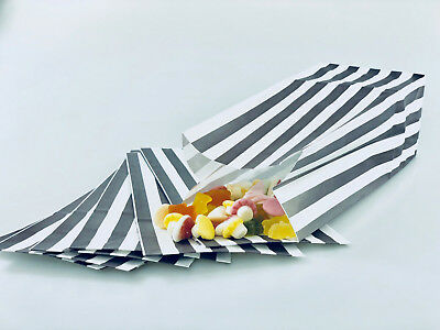 100 x Grey/Silver Candy Stripe Sweet | Popcorn | Pick n Mix  | Paper Bags