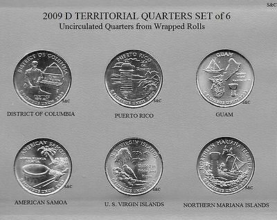 2009 D GUAM & ETC. Territorial Quarters, 6 quarters set, Uncirculated Clad.