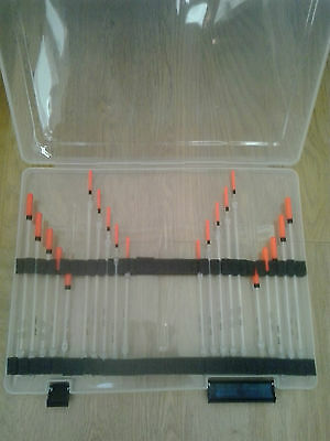 Float Box With 20 Crystal Wagglers - 10 Wide - 10 Fine Tips Coarse Carp Fishing