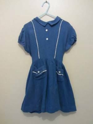vintage 40's little girls dress age 5 blue white Goodwood evacuee costume