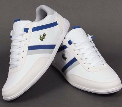 Lacoste Mens Giron Trainers White Royal Blue Smooth Leather Shoes All Sizes