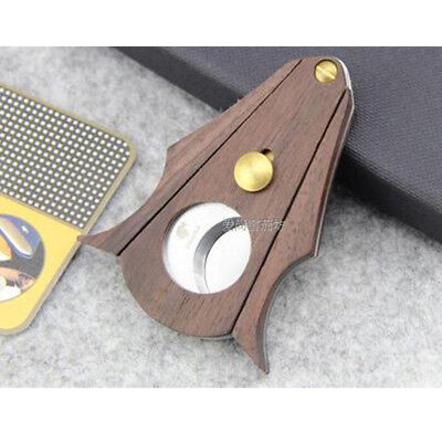 COHIBA Wenge Wood Stainless Steel Double Cut Blade Cigar Cutter Scissors US