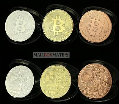 Btc Bit coin Crypto Currency Novelty Bit Coins Collectable 3 Colours Avaliable