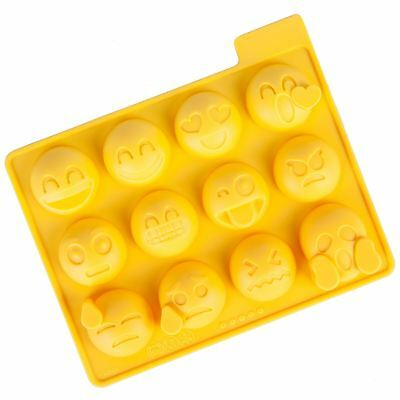 Emoticons Novelty Ice Cube Tray 12 Fun Emoji Faces Silicone Mould