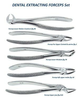 chirurgie dentaire extraction Forceps fig. 86,1, 79,18, 51A Set de 5 couvercle