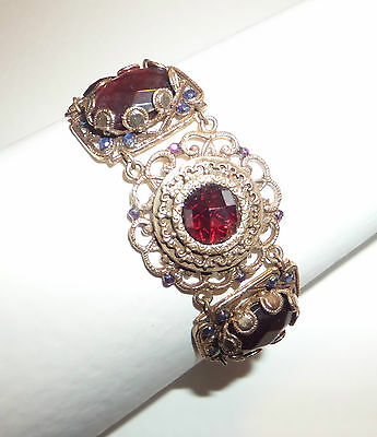 Victorian Style Deep Red & Toning Colours Rose Gold Plated Filigree Bracelet