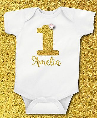 Personalised Gold Glitter First 1st Birthday Bow Baby Girl Grow Vest Free P&P