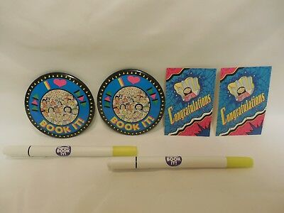 Pizza Hut Book It Pins & Markers & Congratulations Cards  1992 and 1993