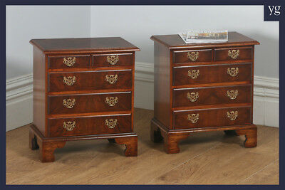 Pair 2 Georgian Style Burr Walnut Bachelor Bedside Chest of Drawers Night Stands