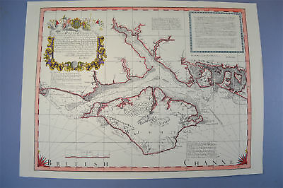 Vintage Marine chart sheet map of The sea coast from Chichester to Christchurch