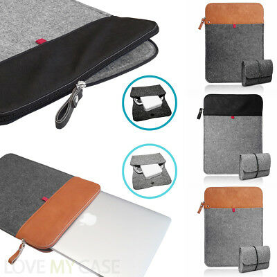 Felt & Leather ZIP Sleeve Case Cover with Mouse / Charger Pouch Bag for MacBook