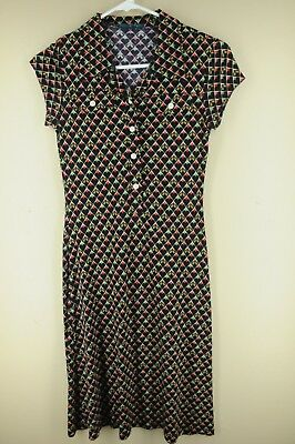 Vintage Women's Black Red & Green Geometric 80's Rayon Polyester Dress S Small