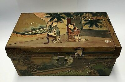 ANTIQUE 19TH CENTURY PIG SKIN TRUNK SMALL BOX HAND PAINTED  Vintage Chinese
