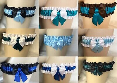 Blue Shades Garter Lingerie Stocking Toppers Burlesque Prom Bride Hen Wedding