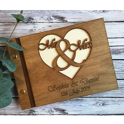 Personalised Wedding Guest Book Scrapbook Album Wooden Mr & Mrs 40 PAGES